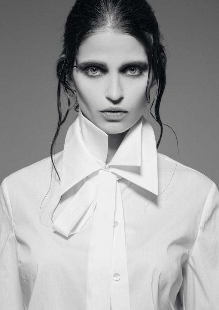 chemise blanche aux manches longues, double col extravagant, boutons blancs, look classique, haut chic bas choc