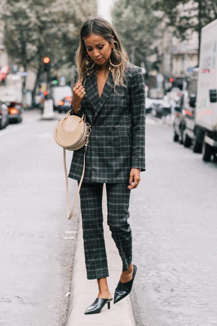 idée pour une tenue chic femme en tailleur d'homme à carreaux composé de veste à double boutonnage et un pantalon écourté qui laisse voire les mules à talon avec bout pointu