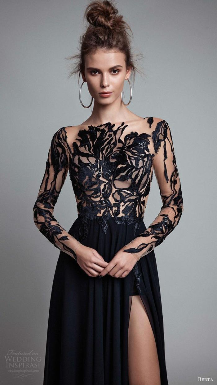 Etre une femme bien habillée tenues de soirée femme robe noire longue magnifique