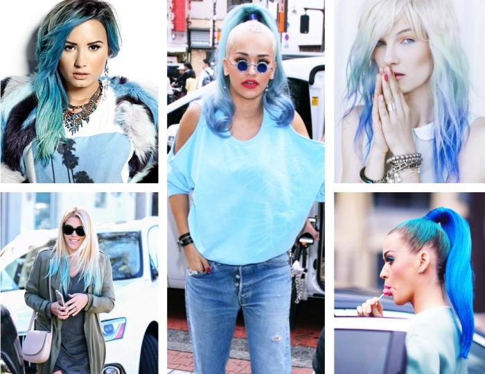 coloration cheveux, coiffure de Demi Lovato aux cheveux longs et colorés de pointes bleues, Rita Ora aux cheveux attachés en queue de cheval avec boucles bleues