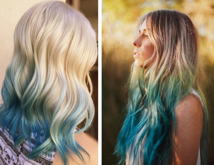 coloration cheveux, coiffure de cheveux longs et bouclés avec racines châtain foncé et mèches pastel en bleu et vert