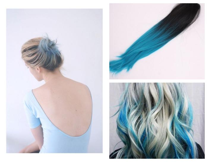 idée pour une coiffure de cheveux longs et blonds avec mèches turquoises, coiffure bun décontracté pour cheveux mi-longs