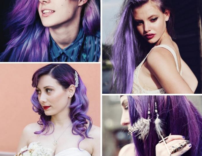 cheveux violine pour teint clair ou olive, coiffure de mariée aux cheveux bouclés avec accessoire à design florale