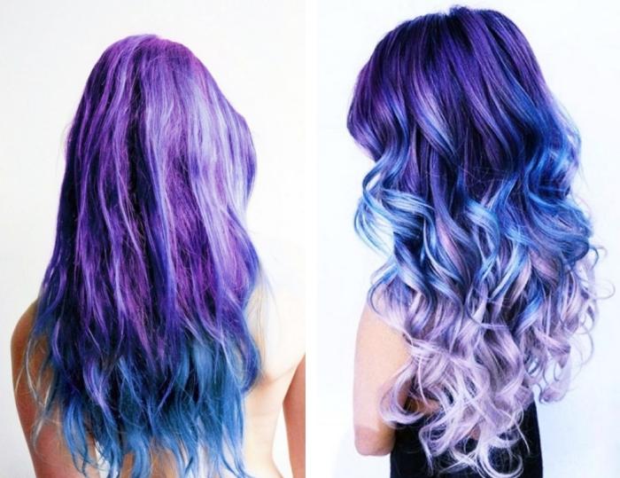 coiffure tie and dye, coloration en nuances violet et bleu sur cheveux longs et noirs, coiffure avec boucles colorées