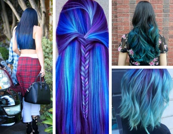 coiffure tie and dye, cheveux longs mi-attachés en tresses et colorés en nuances pastel violet et bleu