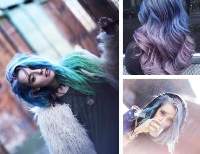 Coloration cheveux tie and dye violet