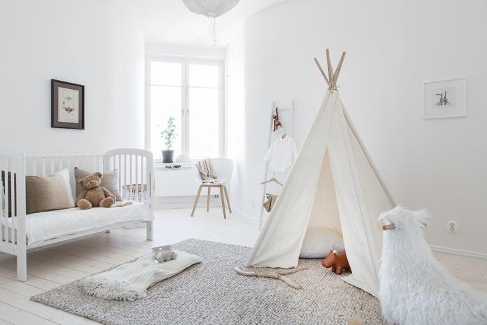 modèle de tipi diy pour la chambre d'enfant, quelle couleur choisir pour la pièce d'enfant avec meubles bois