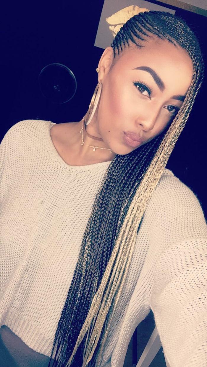 tuto tresse sur le coté africaine coiffure longue nattes blondes