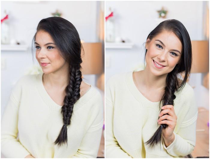 exemple de tresse épi sur le coté avec des mèches libres, coiffure femme facile et rapide de tous les jours