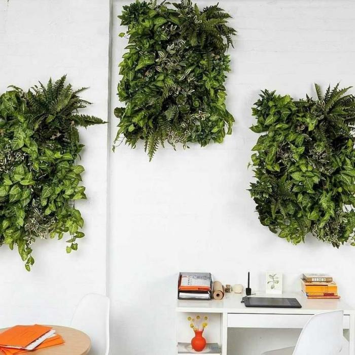 peinture murale blanche et trois rectangles végétalisés, déco murale écologique