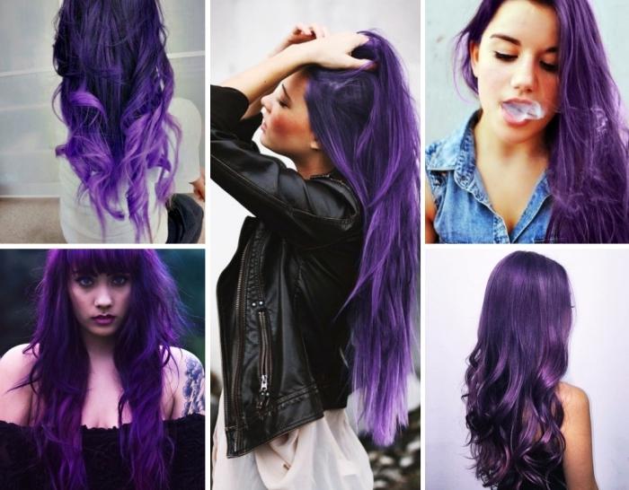 les cheveux violet pour quel visage, coiffure aux cheveux longs colorés en prune foncé ou pastel