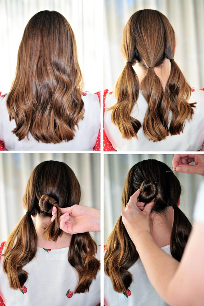 tuto coiffure facile et rapide pour les pressés du matin, chignon triple bun facile à base de trois queues-de-cheval basses