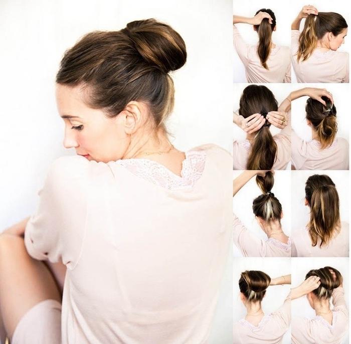 idée coiffure pour les nuls avec un simple chignon enroulé qui met en valeur les mèches subtils des cheveux