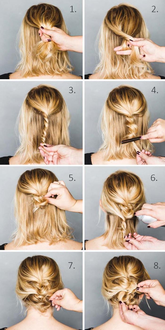 coiffure de fête avec un chignon cheveux courts simple et rapide réalisé avec des mèches torsadées enroulés sur elles même