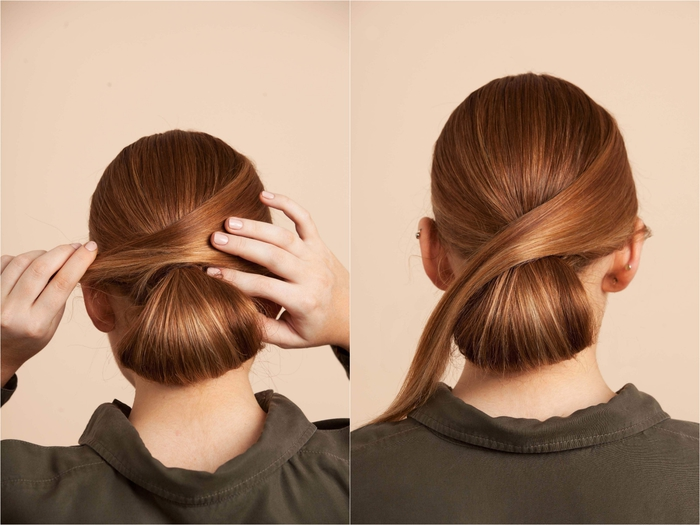 idée pour une coiffure facile et rapide avec queue-de-cheval basse enroulée en chignon lisse
