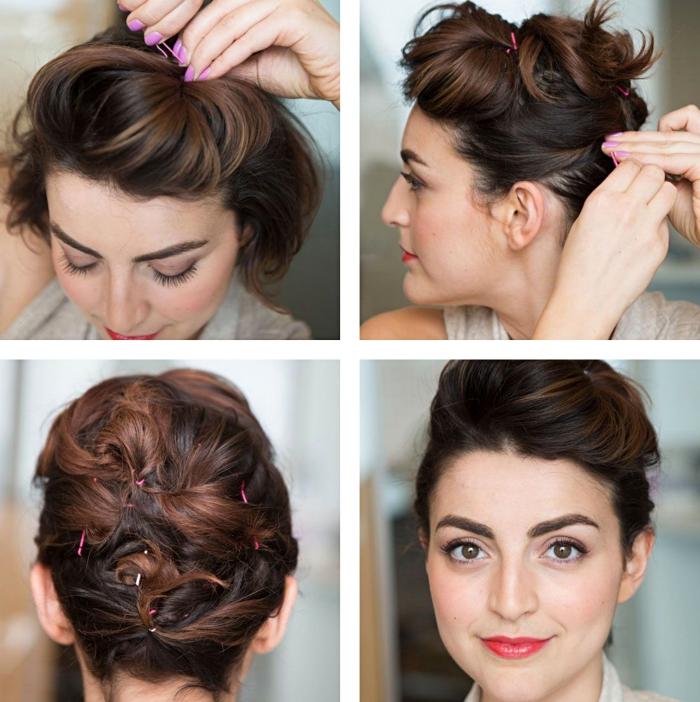 coiffure facile, étapes à suivre pour attacher les cheveux courts et créer du volume sur le haut de la tête