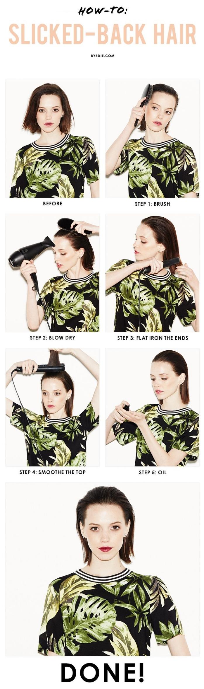 coupe de cheveux femme, photos pour réaliser une coiffure sur cheveux mi-longs poussés à l'arrière avec gel