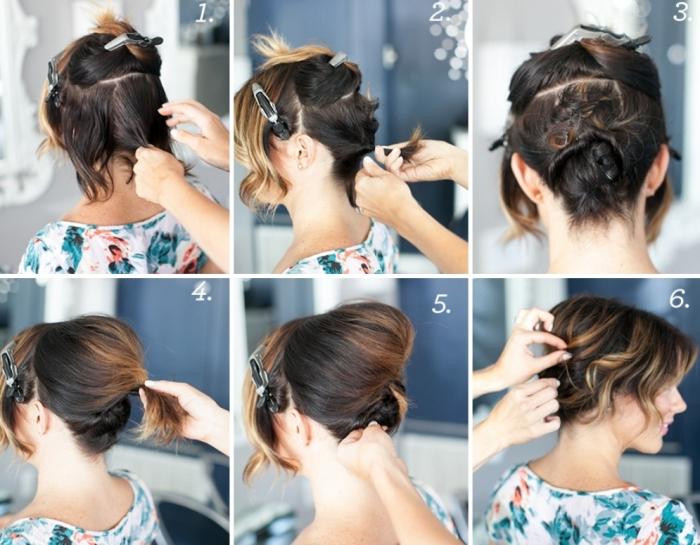 tuto coiffure facile sur cheveux mi-longs légèrement bouclés et attachés en chignon banane avec volume sur le haut de la tête