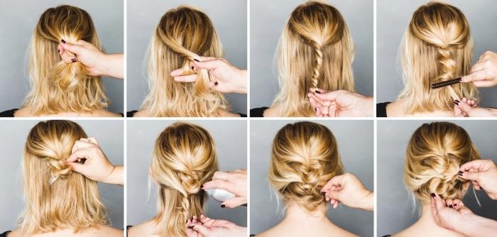 coiffure femme, cheveux mi-longs et blonds attachés en tresse pour faire un chignon originale et bas