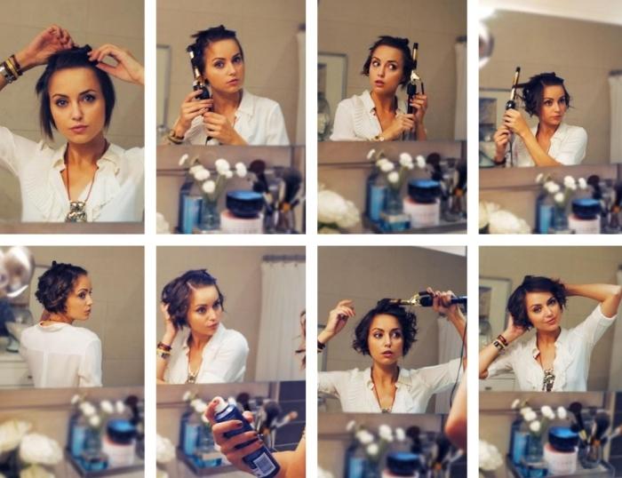 comment faire boucler les cheveux fins et courts avec fer et spray voluminateur