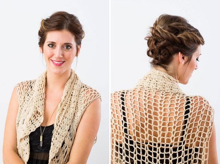 tuto coiffure cheveux court, cheveux en mèches torsadées attachés à l'arrière et avec mèches devant