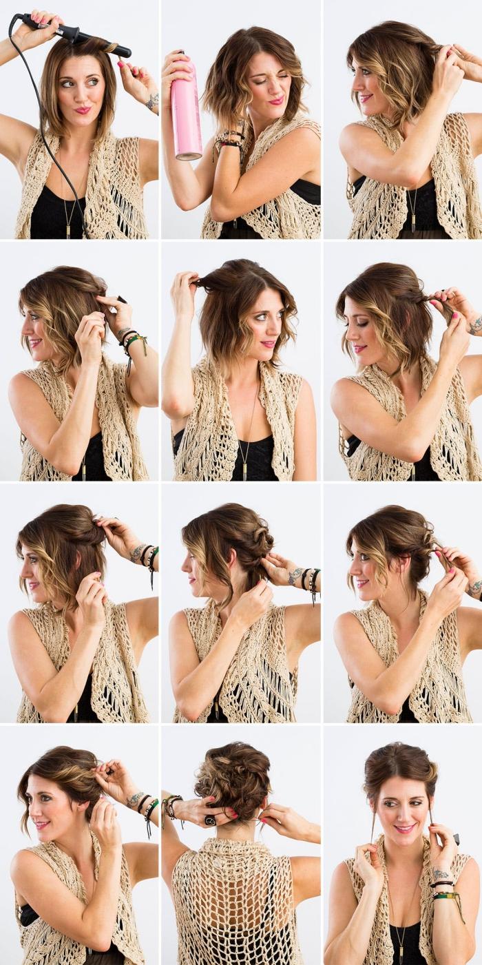 coiffure facile, comment attachés les cheveux mi-longs en chignon de boucles avec mèches devant