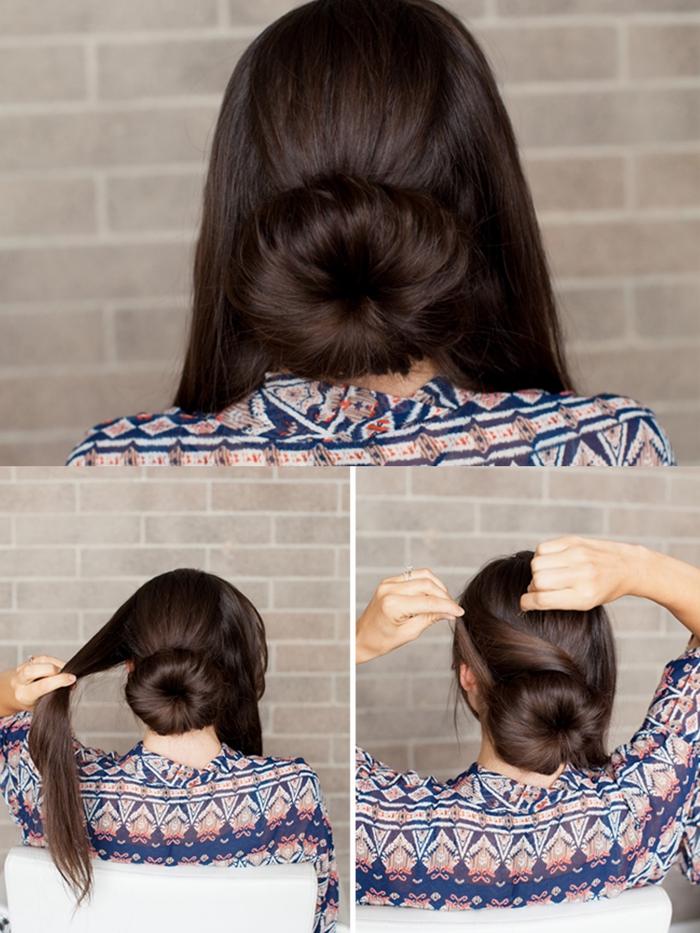 un chignon bas élégant réalisé avec un donut, idée pour une coiffure facile et d'une élégance intemporelle