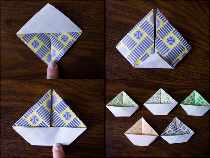 comment faire une simple guirlande de bateaux en papier, pliage papier facile pour la décoration de la maison
