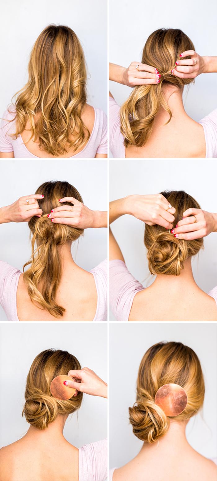 comment faire un chignon décoiffé asymétrique en bas de la nuque, coiffure chignon chic et élégant sublimé par une attache cheveux originale