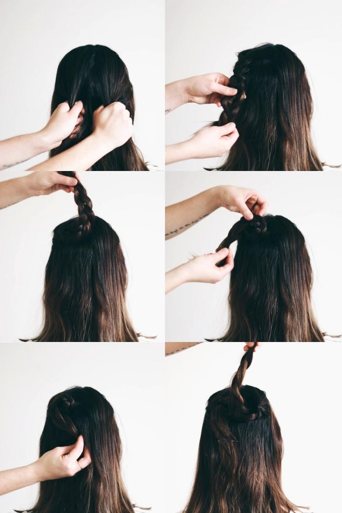 comment faire une coiffure facile pour la Saint Valentin avec deux mèches tressés en forme de coeur