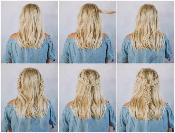 exemple de tuto tresse épi cheveux lachés blond avec de petites tresses des deux cotés, et une autre au milieu