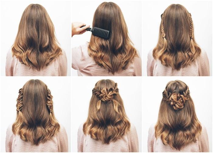 tuto tresse épi sur des cheveux mi long avec des nattes latérales réunies derrière la tête et reste des cheveux lachés