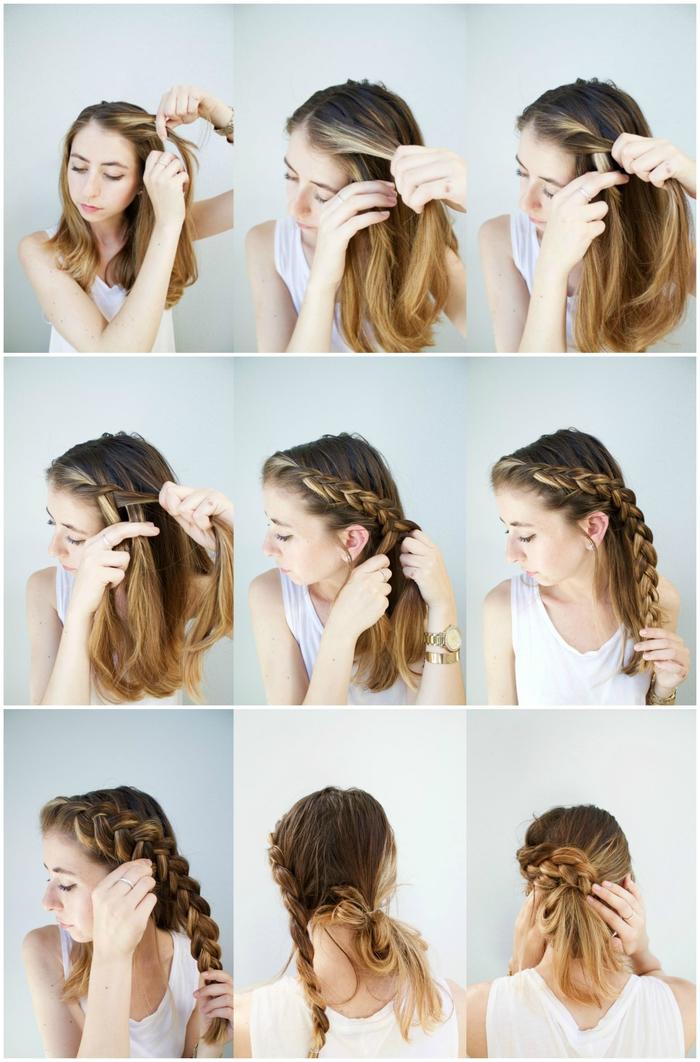 comment réaliser un joli chignon cheveux mi-long avec une natte hollandaise attachée à un noeud de cheveux