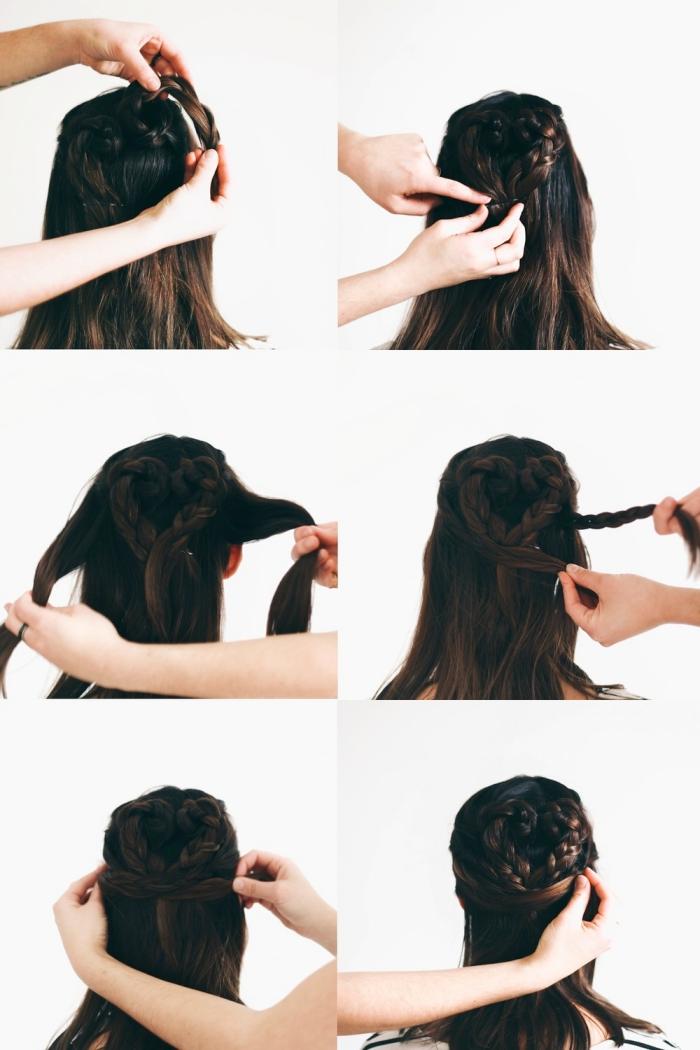 coiffure tresse, tutoriel avec les étapes pour réaliser une coiffure avec tresses attachés en forme de coeur