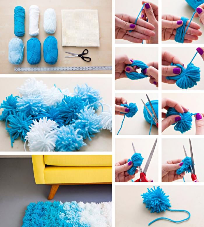 déco chambre ado fille, comment faire un tapis de pompons à design ombré avec laines de couleurs bleu et blanc