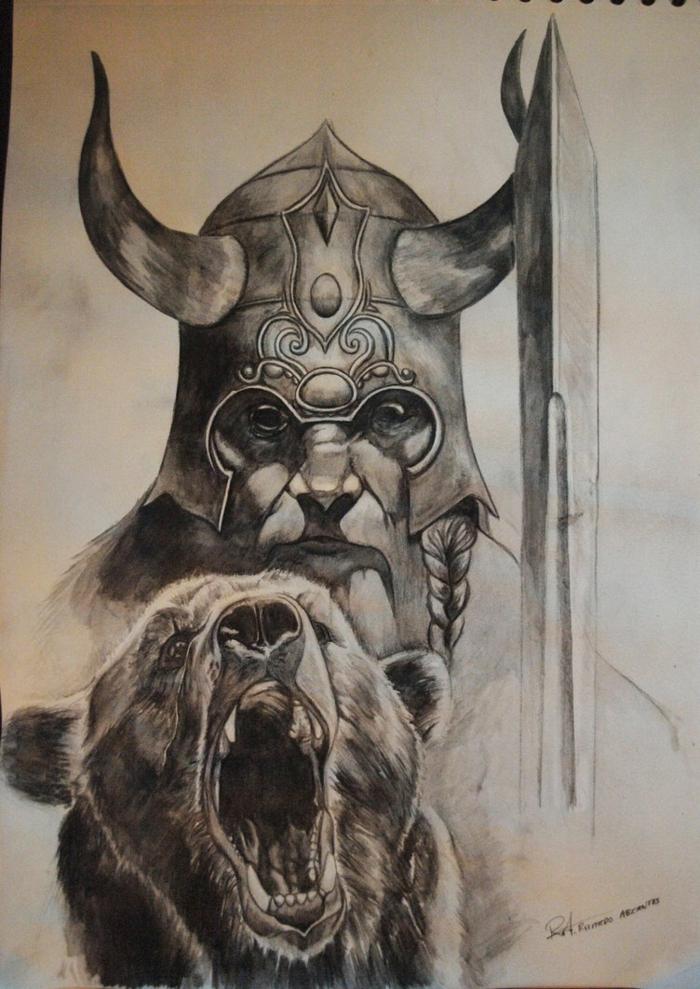 Magnifique tatouage nordique symbole des vikings tete viking et ourse