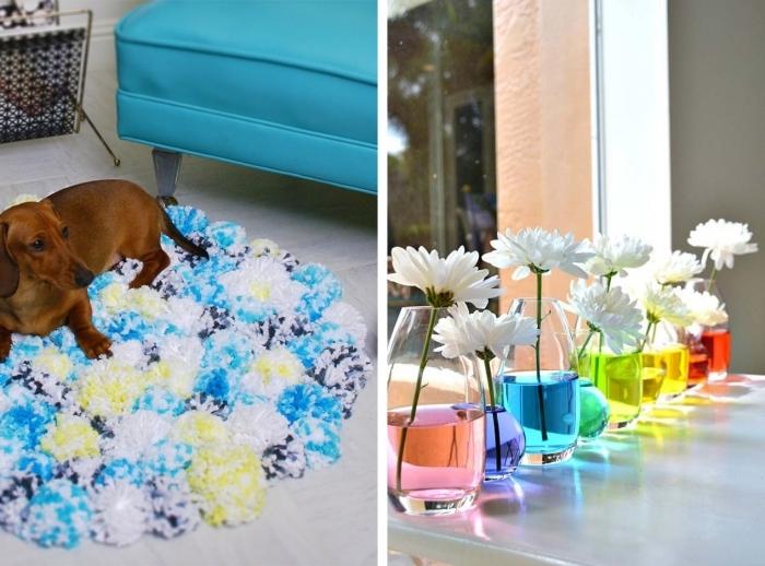 idée déco chambre ado fille a faire soi meme, modèle de tapis en pompons blanc bleu et jaune