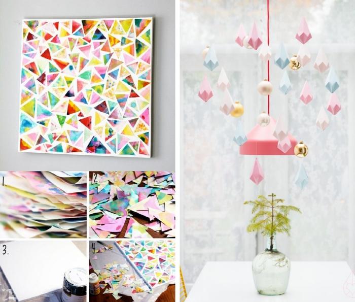 suspension luminaire diy avec figurines en papier origami colorés, deco chambre fille ado avec peinture diy en coupures de papier coloré