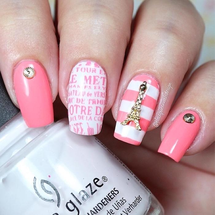 manucure à design Paris avec ongles rose corail et décoration 3d en forme de la Tour Eiffel