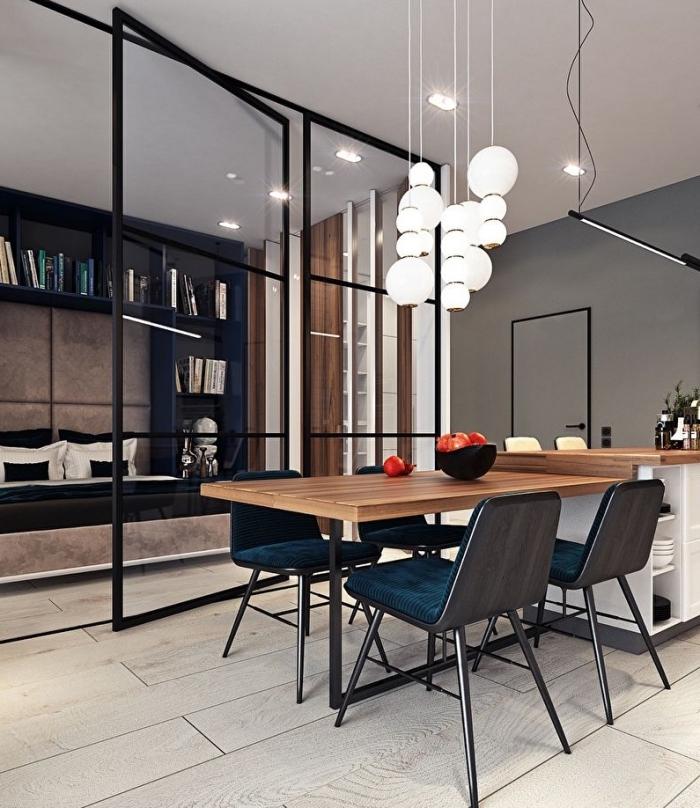 separation cuisine salon, comment diviser les pièces avec une verrière moderne et coulissante
