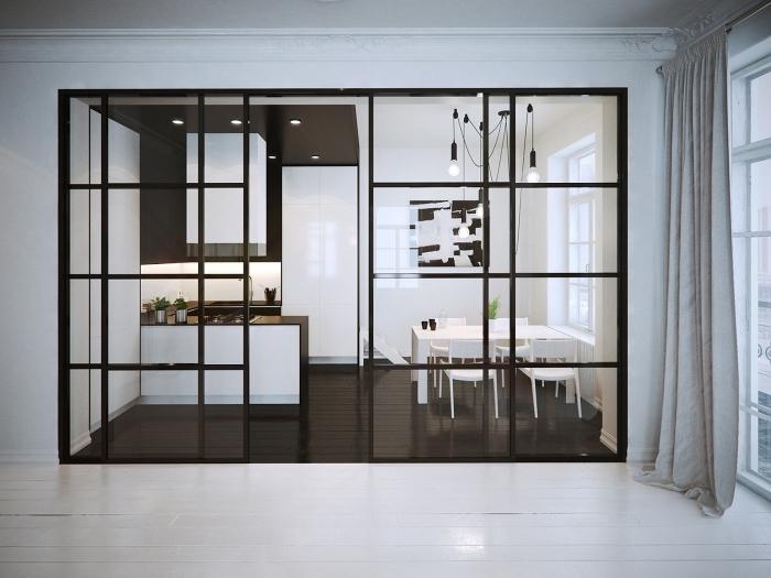 cloison vitrée, décoration de cuisine blanc et noir avec éclairage led sur le plafond et corde électrique de style industriel
