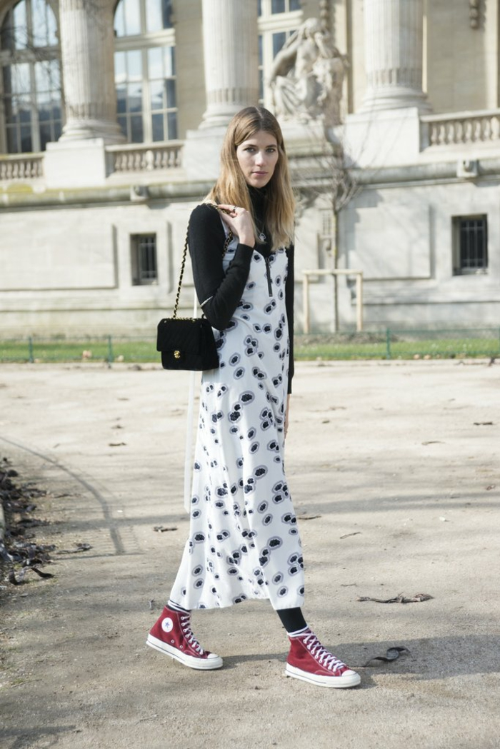 Vintage look robe decontracte top noir robe femme tenue de jour