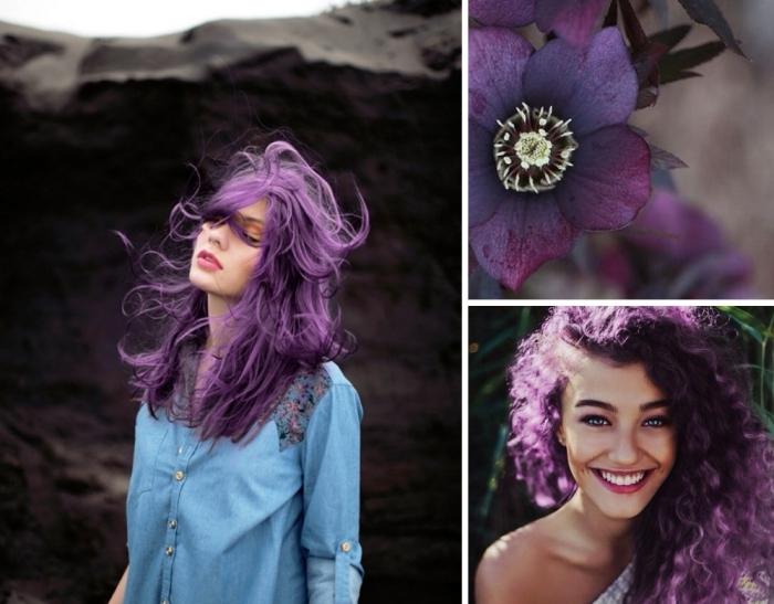 couleur cheveux violet pastel, coupe de cheveux longs et naturellement bouclés de mèches violine pastel