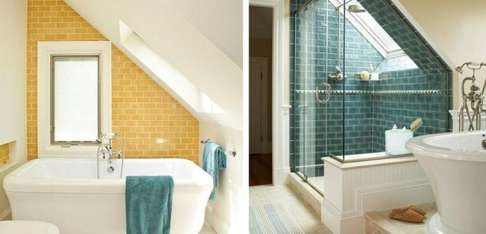 salle de bain 2m2, mur en carreaux verts et jaunes, aménagement de petite salle de bain