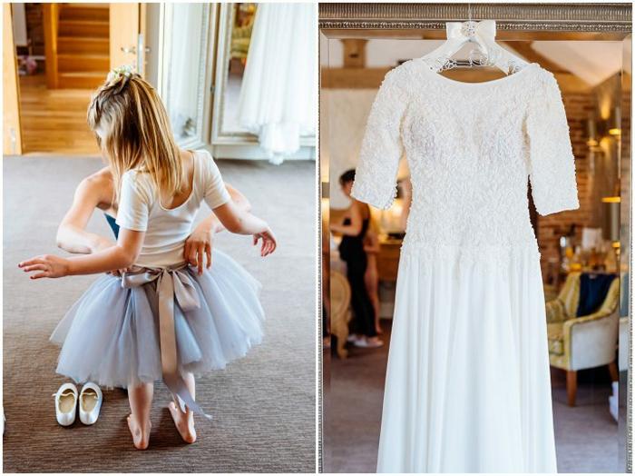 Blanche robe princesse fille mariage robe cérémonie bébé fille ruban sur jupe ballet