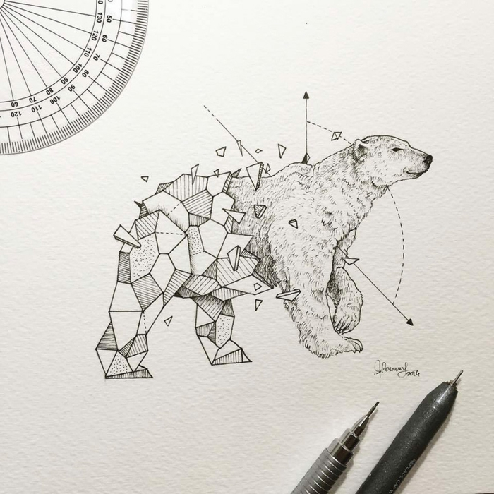 Quel dessin géométrique facile réaliser aujourd hui ourse géométrique animal