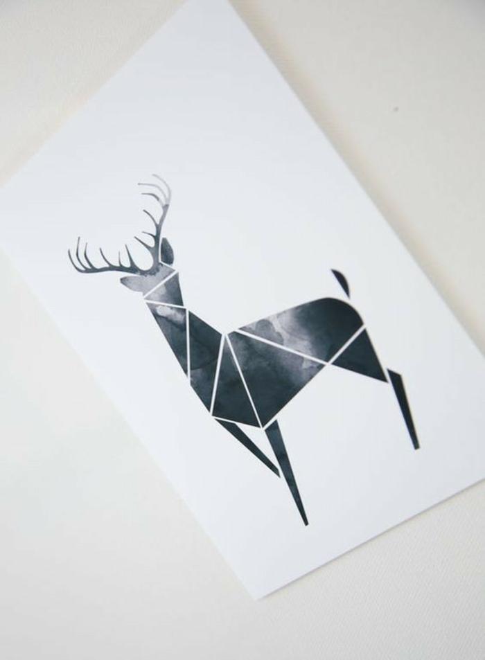 Beau dessin géométrique animaux dessins faciles à dessiner cerf triangle
