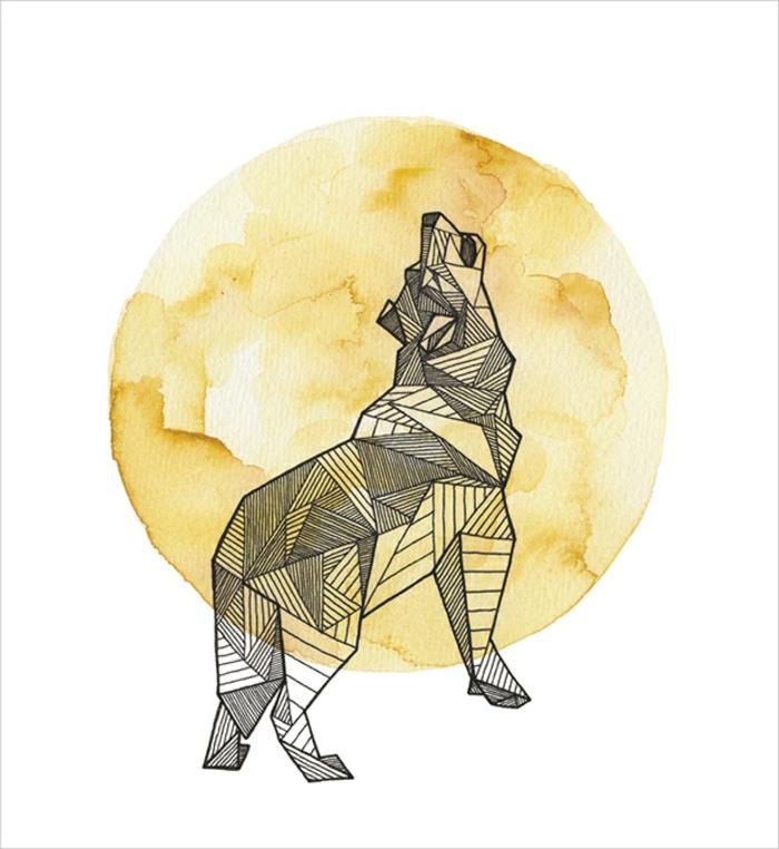 Beau dessin géométrique animaux dessins faciles à dessiner loup forme en lignes géométrique dessin