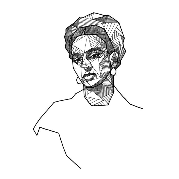 Belle Frida Kahlo dessin géométrique portrait femme dessins faciles à dessiner