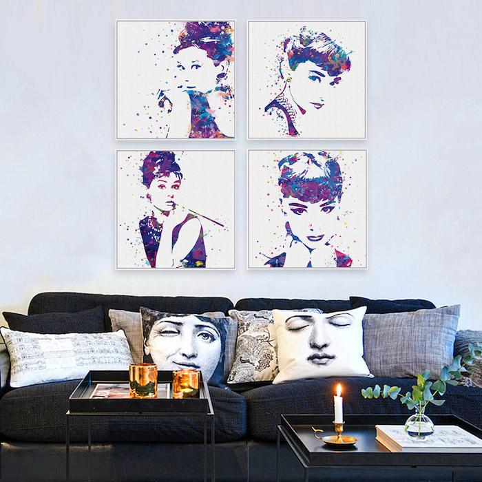 tableau aquarelle Audrey Hepburn, salon à la déco design et minimaliste vintage